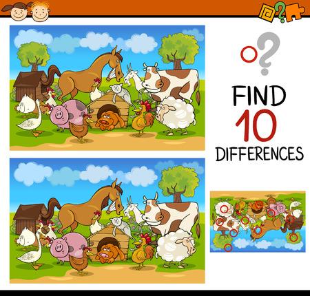 dessin enfants: Cartoon Illustration de Trouver les Diff�rences jeu �ducatif pour les enfants d'�ge pr�scolaire