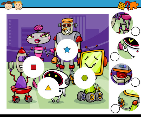 brain game: Cartoon Illustration of Match the Pieces Educational Game for Preschool Children