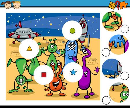 martians: Cartoon Illustration of Match the Pieces Educational Game for Preschool Children