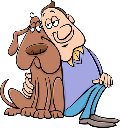 Cartoon Illustration of Happy Dog with his Owner