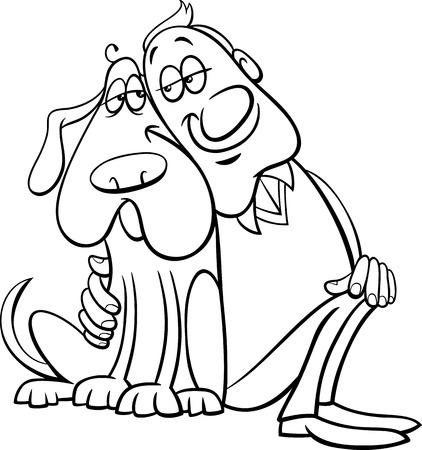 caricaturas de personas: Historieta blanco y negro Ilustración de perro feliz con su propietario para Coloring Book