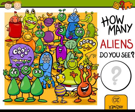calculation: Cartoon Illustration of Education Counting Game for Preschool Children Illustration