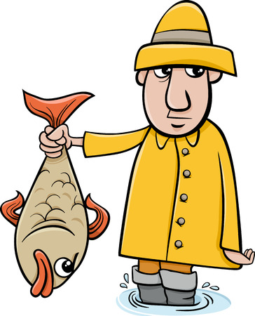 Cartoon Illustration of Angler or Fisherman with Big Fish