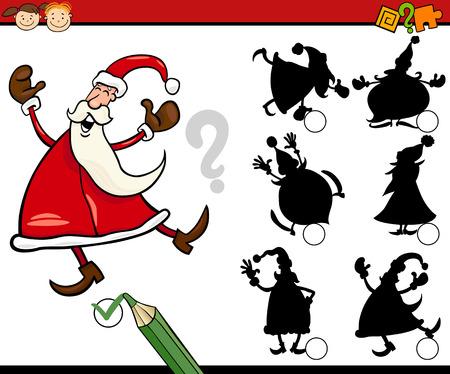 shadow match: Cartoon Illustration of Education Shadow Matching Game for Preschool Children Illustration