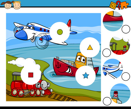 Cartoon Illustration of Match the Pieces Educational Game for Preschool Children Vector