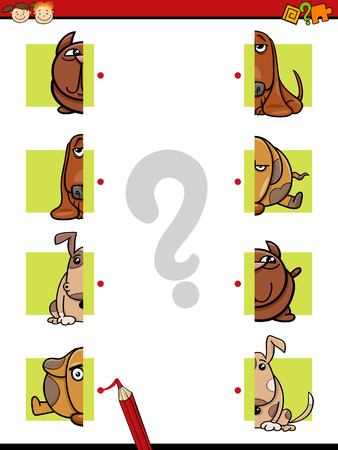 teaser: Cartoon Illustration of Education Halves Matching Game for Preschool Children