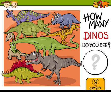dinosaurio: Ejemplo de la historieta de Educación Contando juego para niños en edad preescolar
