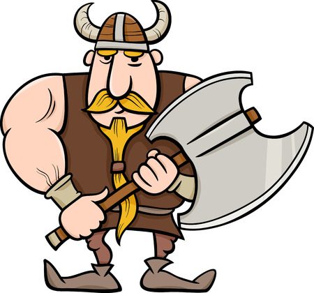 cold steel: Cartoon Illustration of Viking or Knight with Axe
