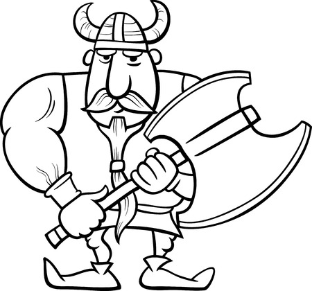 germanic people: Black and White Cartoon Illustration of Viking or Knight with Axe for Coloring Book