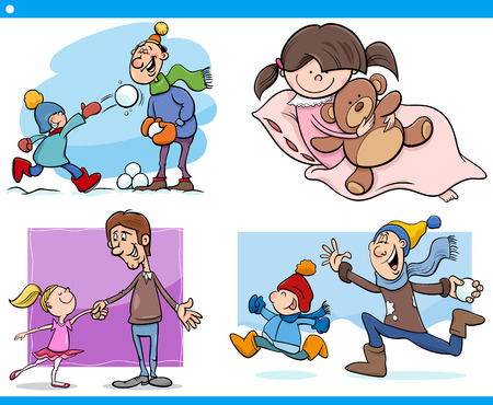 Cartoon Illustration Set of Fathers with Children Vector