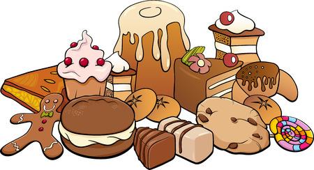 甘い食べ物: ケーキやクッキーのような甘い食べ物の漫画イラスト