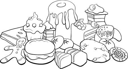 Schwarz und weiß Karikatur Illustration von Kuchen und Süßwaren wie Kuchen und Kekse für Malbuch