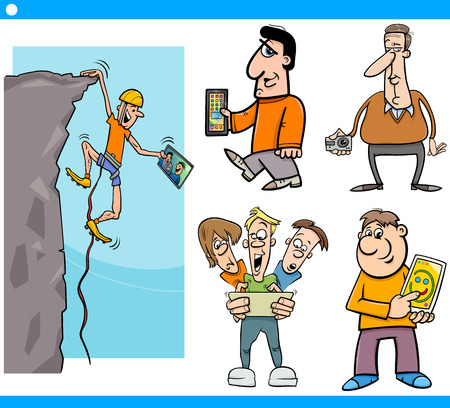 Cartoon Illustration Set of People with New Technology Electronic Devices Vector