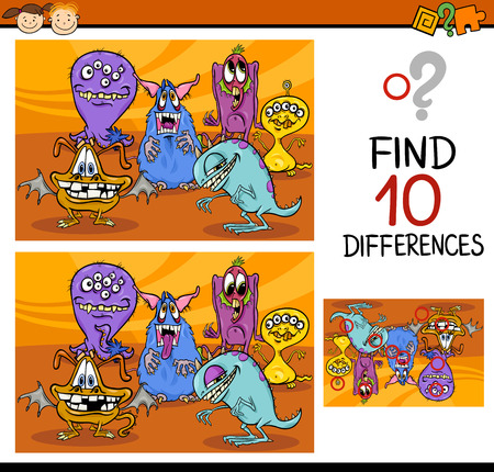 find solution: Cartoon Illustration of Finding Differences Educational Game for Preschool Children