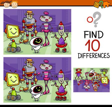 Cartoon Illustratie van Zoek de Verschillen Educatief spel voor kleuters Stockfoto - 36990878