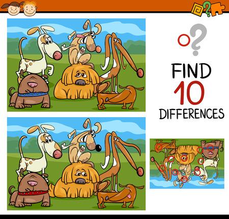 Cartoon Illustratie van Zoek de Verschillen Educatief spel voor kleuters Stockfoto - 36990881