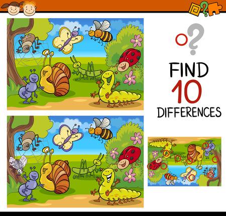 취학 전 어린이를위한 차이점 교육 게임을 찾기의 만화 그림 일러스트