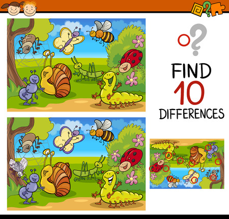 different: Cartoon Illustration of Finding Differences Educational Game for Preschool Children