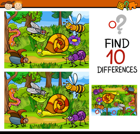 Cartoon Illustration of Finding Differences Educational Game for Preschool Children Stok Fotoğraf - 36990883