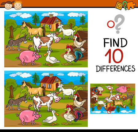 spots: Cartoon Illustration of Finding Differences Educational Game for Preschool Children