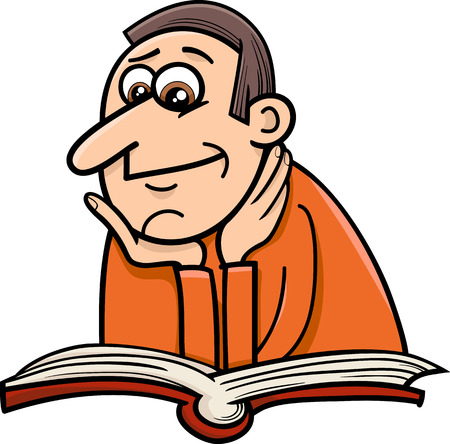 encyclopedias: Cartoon Illustration of Reader Man with Book