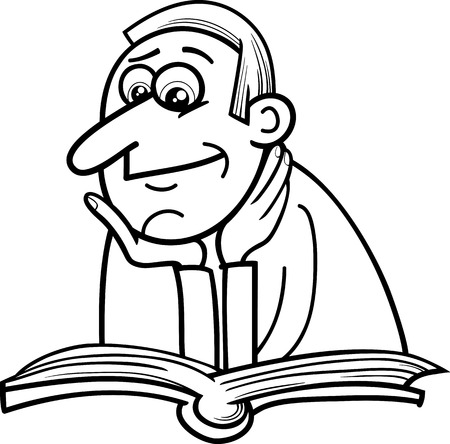 reader: Black and White Cartoon Illustration of Reader Man with Book for Coloring Book Illustration