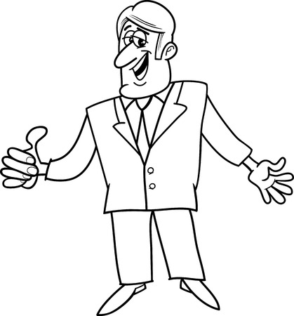 salesperson: Black and White Cartoon Illustration of Man or Businessman with OK Gesture Illustration