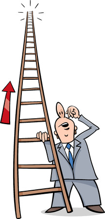 corporate ladder: Cartoon Humor Concept Illustration of Ladder of Success Saying or Proverb
