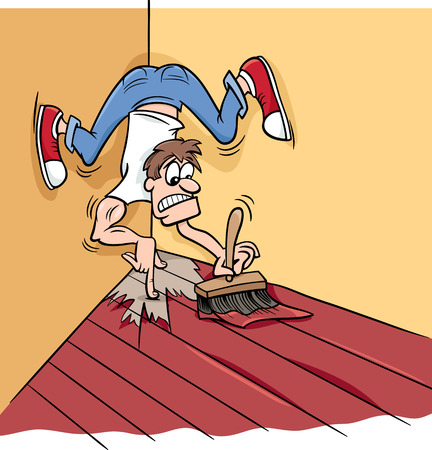 Cartoon Humor Concept Illustration of Painting Yourself into a Corner Saying or Proverb