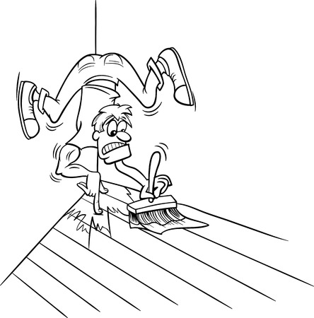 difficult situation: Black and White Cartoon Humor Concept Illustration of Painting Yourself into a Corner Saying or Proverb