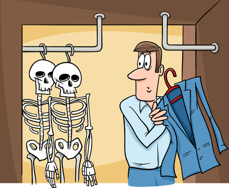 skeleton cartoon: Cartoon Humor Concept Illustration of Skeletons in the Closet Saying or Proverb