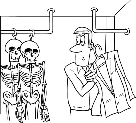 embarrassing: Black and White Cartoon Humor Concept Illustration of Skeletons in the Closet Saying or Proverb