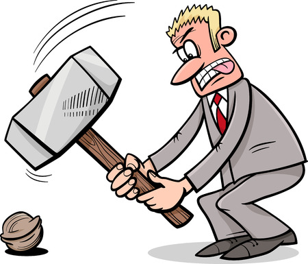 sledgehammer: Cartoon Humor Concept Illustration of Sledgehammer to Crack a Nut Saying or Proverb