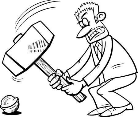 exaggeration: Black and White Cartoon Humor Concept Illustration of Sledgehammer to Crack a Nut Saying or Proverb