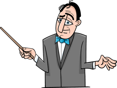 Cartoon Illustration of Orchestra Conductor Funny Character Vector
