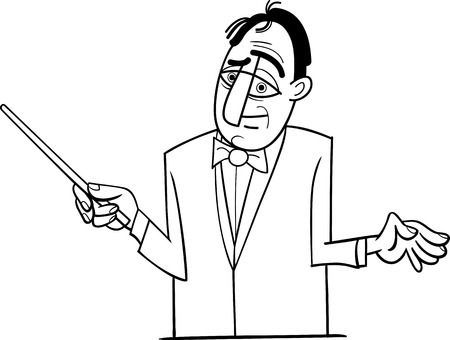 Black and White Cartoon Illustration of Orchestra Conductor Funny Character Vector