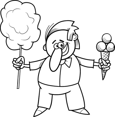 cotton candy: Black and White Cartoon Illustration of Ice Cream and Candy Floss Seller Character for Coloring Book