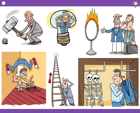 metaphors: Illustration Set of Humorous Cartoon Concepts or Ideas and Metaphors with Funny Characters