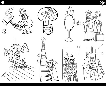 proverbs: Black and White Illustration Set of Humorous Cartoon Concepts or Ideas and Metaphors with Funny Characters