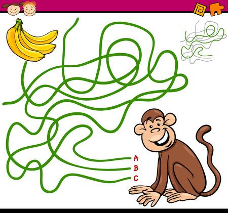 laberinto: Ejemplo de la historieta de Sendero Educaci�n o juego de laberinto para ni�os en edad preescolar con Mono y pl�tano Vectores