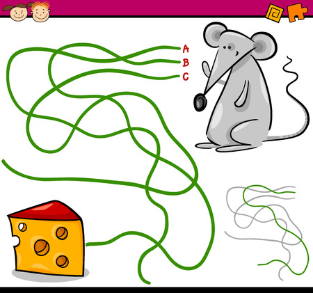cheese cartoon: Cartoon Illustration of Education Path or Maze Game for Preschool Children with Mouse and Cheese