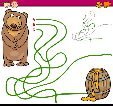 Cartoon Illustration of Education Path or Maze Game for Preschool Children with Bear and Honey Vettoriali