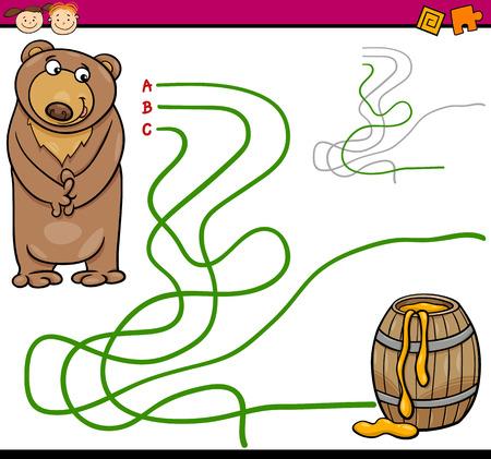 the maze: Ejemplo de la historieta de Sendero Educaci�n o Juego del laberinto para ni�os en edad preescolar con Oso y miel