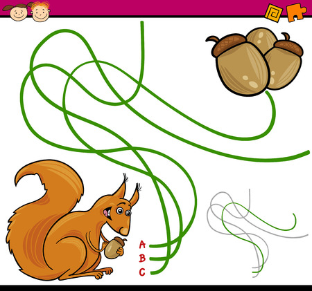 acorn: Cartoon Illustration of Education Path or Maze Game for Preschool Children with Squirrel and Acorn