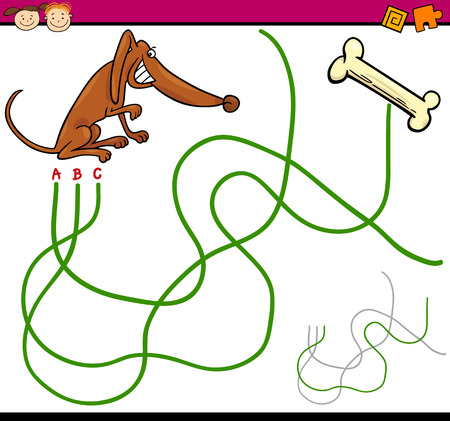 child and dog: Cartoon Illustration of Education Path or Maze Game for Preschool Children with Dog and Bone