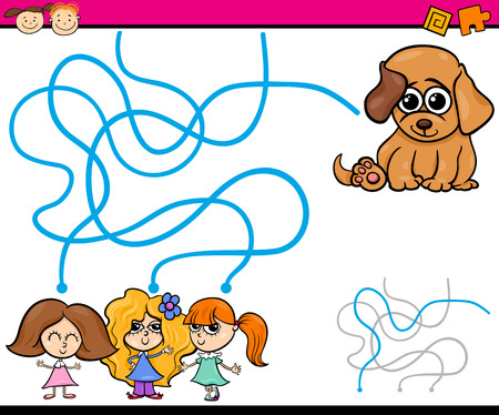 Cartoon Illustration of Education Path or Maze Game for Preschool Children with Girls and Puppy