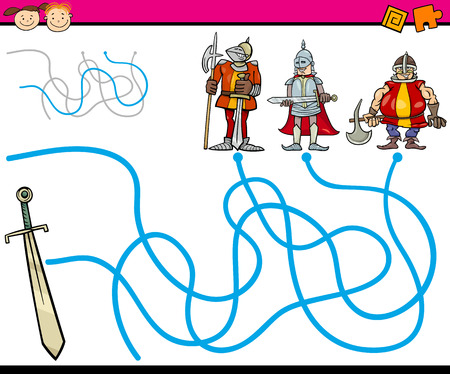 preliminary: Cartoon Illustration of Education Path or Maze Game for Preschool Children with Knights and Sword Illustration