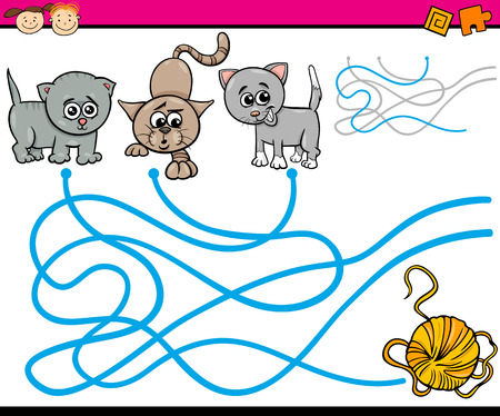 ball of wool: Cartoon Illustration of Education Path or Maze Game for Preschool Children with Cats and Yarn Illustration
