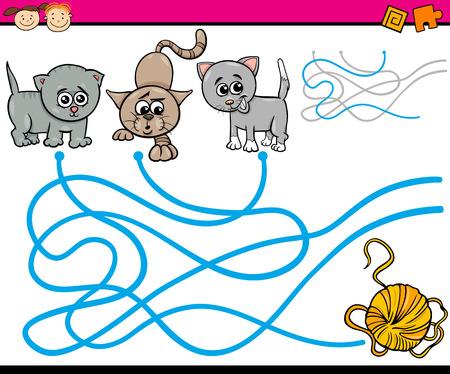 gomitoli di lana: Cartoon illustrazione di istruzione Path o gioco del labirinto per bambini in età prescolare con gatti e Filati