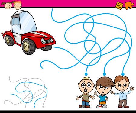 Cartoon Illustration of Education Path or Maze Game for Preschool Children with Boys and Car Vector